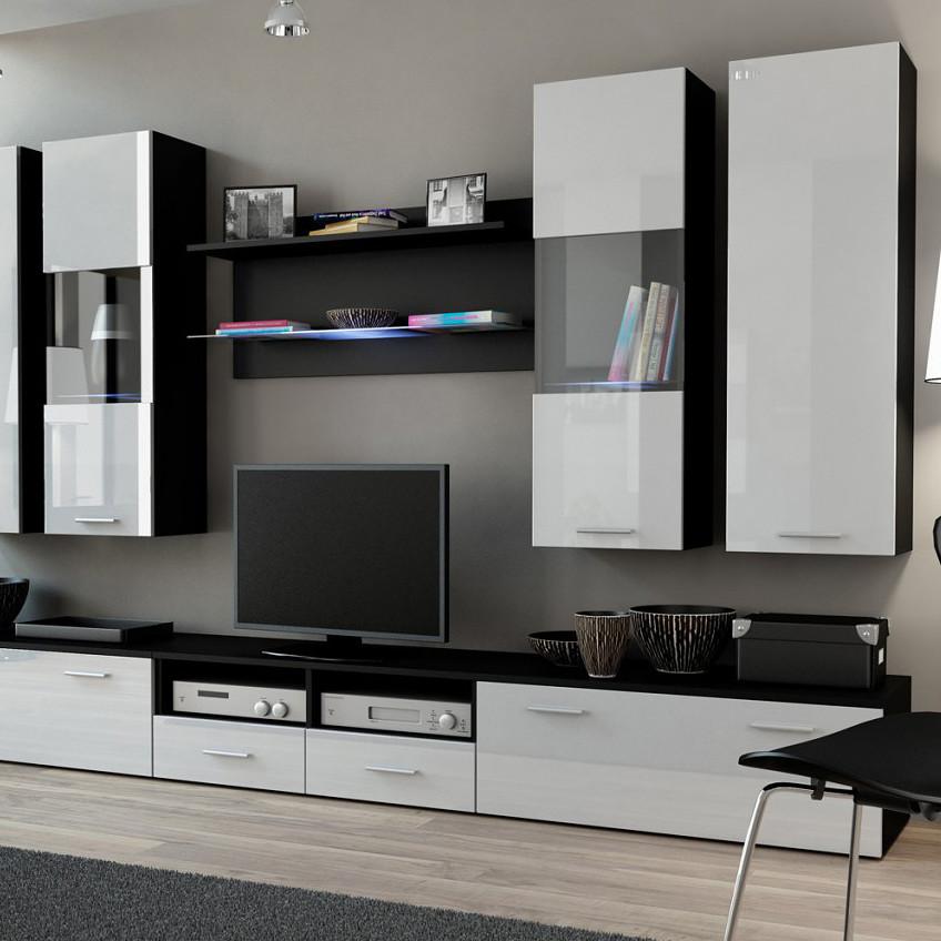 Белая корпусная мебель в интерьере гостиной фото